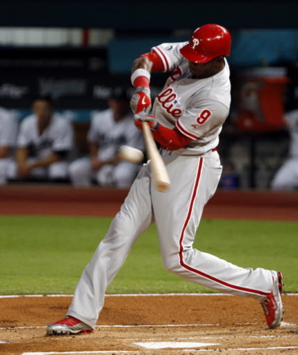 Domonic Brown leads all Phils in Hr's,  RBI's and slugging percentage