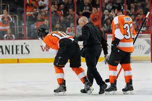 Brayden Schenn (10) was knocked out of the game on a vicious charge by Tom Wilson.